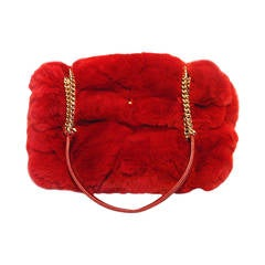 Chanel Red Rabbit Fur Classic Limited Edition Flap Bag