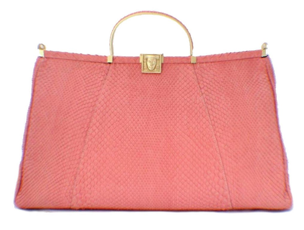 Barry Kieselstein-cord Pink Snakeskin Handbag For Sale 5