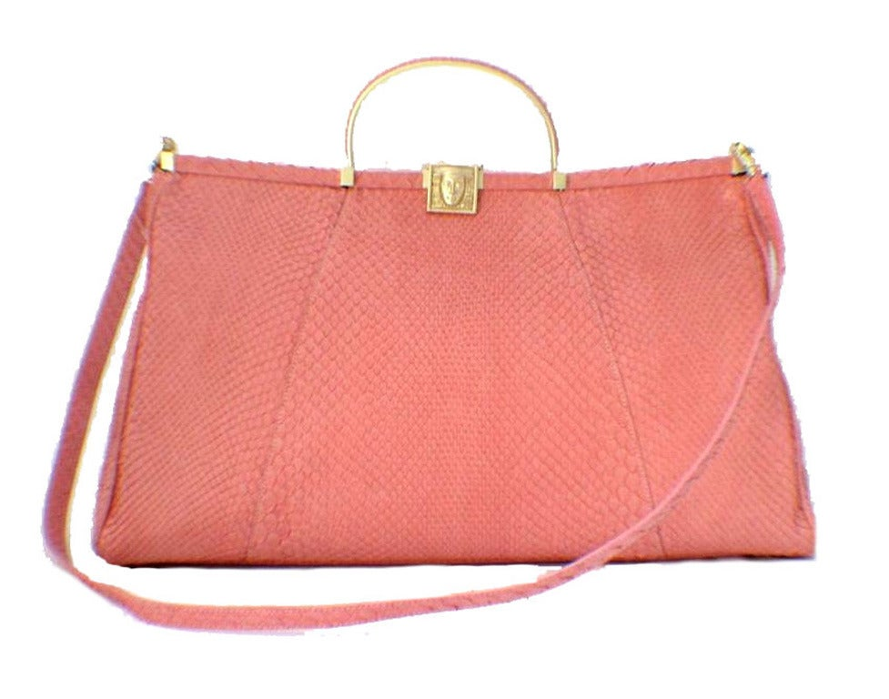 Women's Barry Kieselstein-cord Pink Snakeskin Handbag For Sale