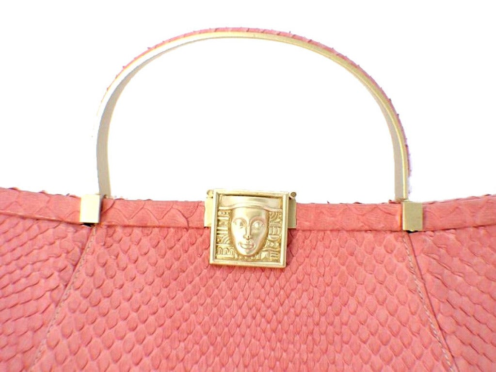 Barry Kieselstein-cord Pink Snakeskin Handbag For Sale 1