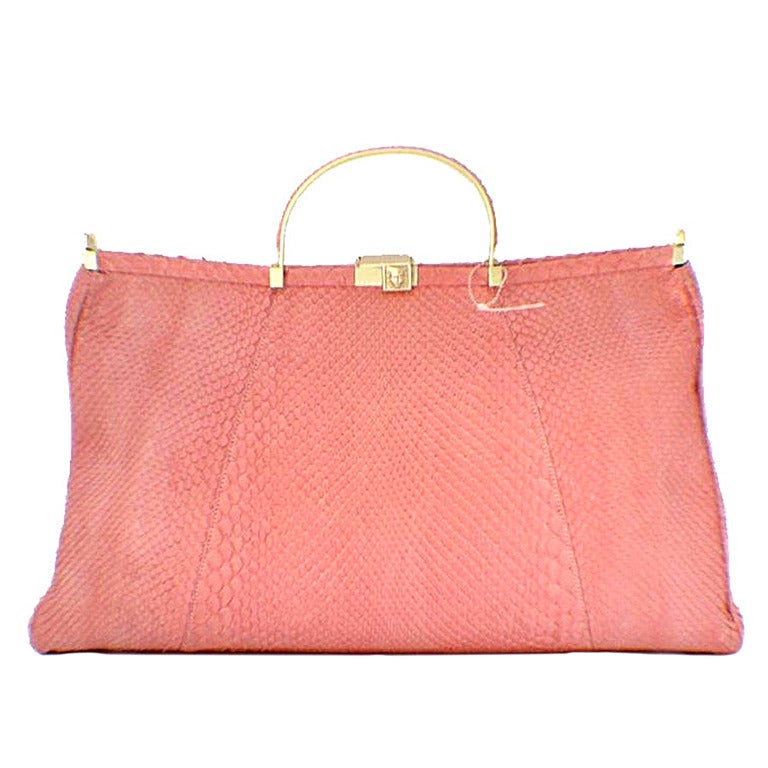 Barry Kieselstein-cord Pink Snakeskin Handbag For Sale