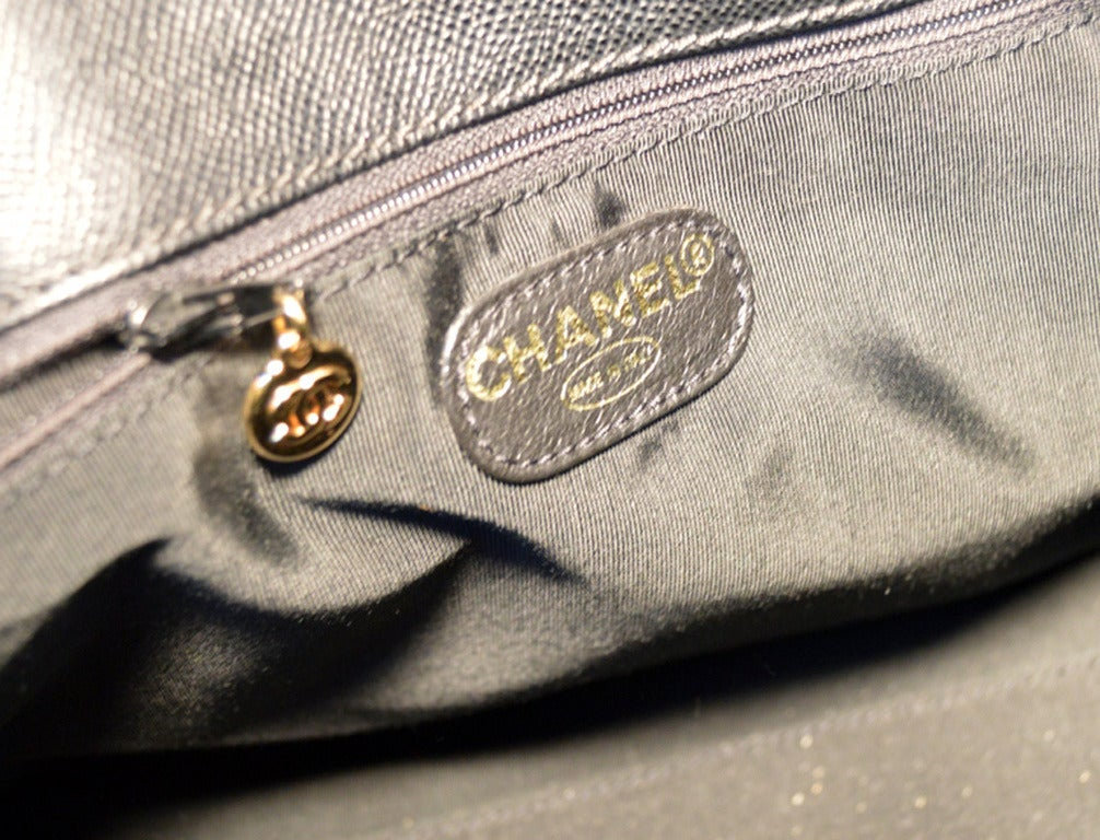 Authentic Chanel Black Leather Travel Duffle Bag 6
