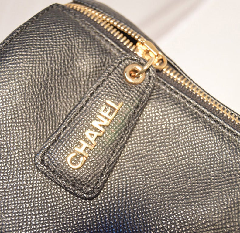 Authentic Chanel Black Leather Travel Duffle Bag 9