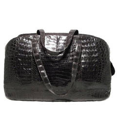 Nancy Gonzalez Black Crocodile Travel Bag Tote