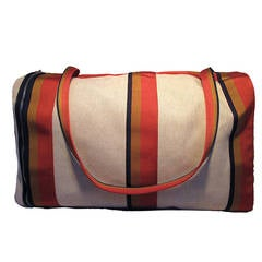 Hermes Canvas Toile Striped Travel Duffel Shoulder Bag