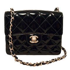Chanel Black Patent Leather Mini Classic Flap Shoulder Bag