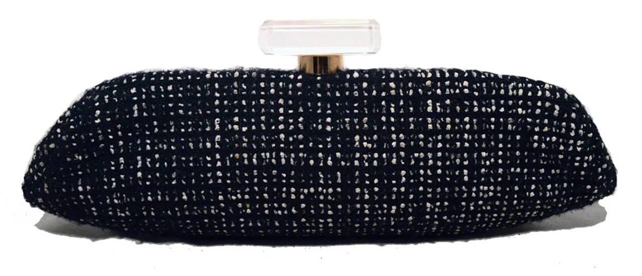 Chanel Black and White Tweed Rhinestone Perfume Bottle Clutch 2