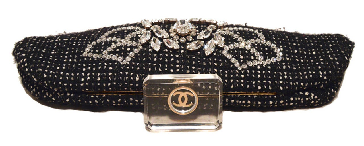 Chanel Black and White Tweed Rhinestone Perfume Bottle Clutch 3