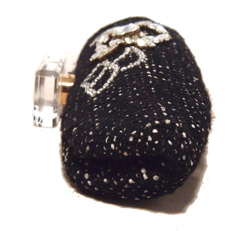Chanel Black and White Tweed Rhinestone Perfume Bottle Clutch 4
