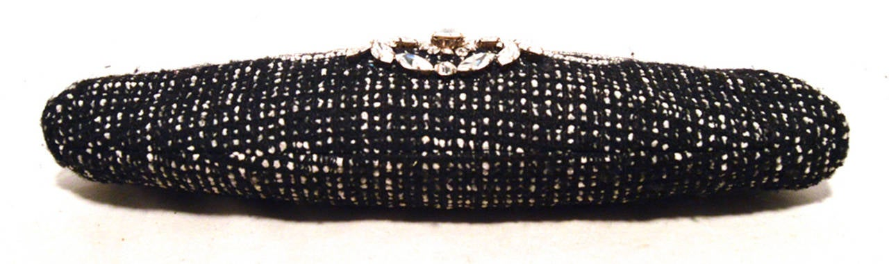 Chanel Black and White Tweed Rhinestone Perfume Bottle Clutch 5
