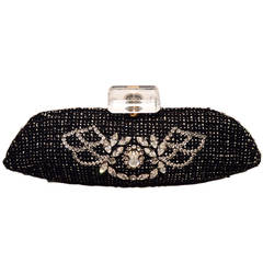 Chanel Black and White Tweed Rhinestone Perfume Bottle Clutch
