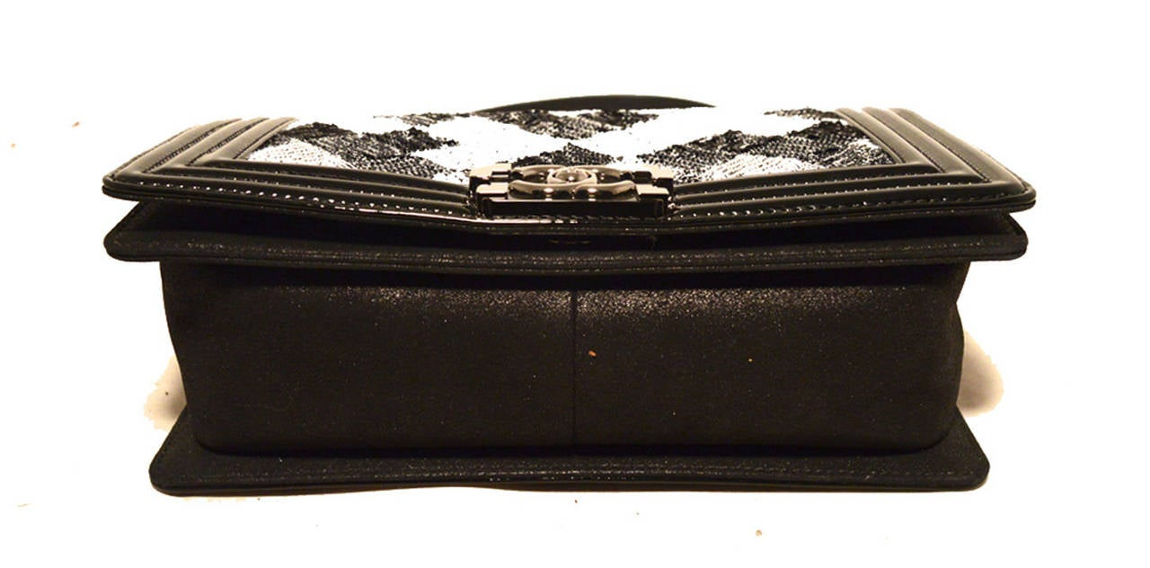 Chanel Sequin Black Patent Leather Classic Flap Boy Bag 5