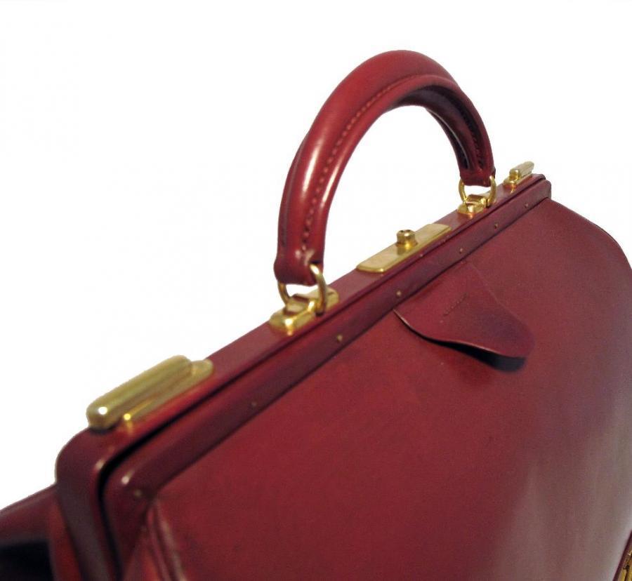 Hermes Rare Vintage Rouge Sac Mallette Handbag 5