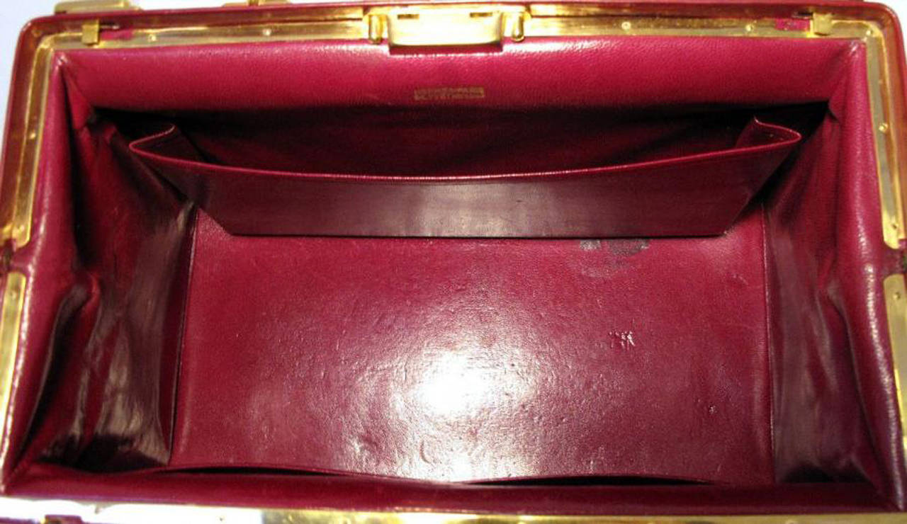 Hermes Rare Vintage Rouge Sac Mallette Handbag 8