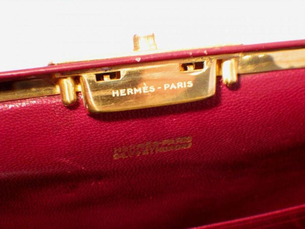 Hermes Rare Vintage Rouge Sac Mallette Handbag 9