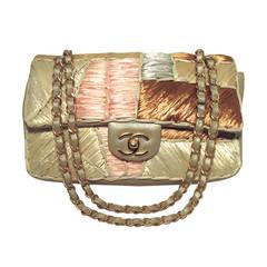 Chanel Shimmery Leather & Raffia Classic Flap Shoulder Bag