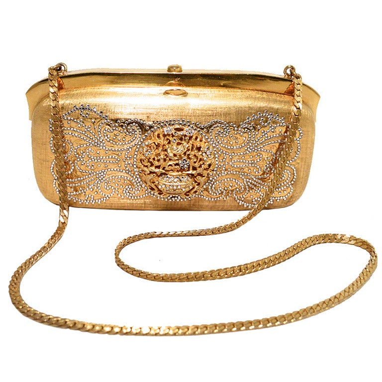 Judith Leiber Gold Filigree Swarovski Crystal Box Minaudiere For Sale
