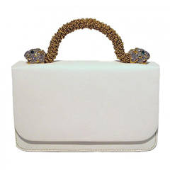 Kenneth Lane For Rosenfeld Vintage White Sharkskin Evening Bag