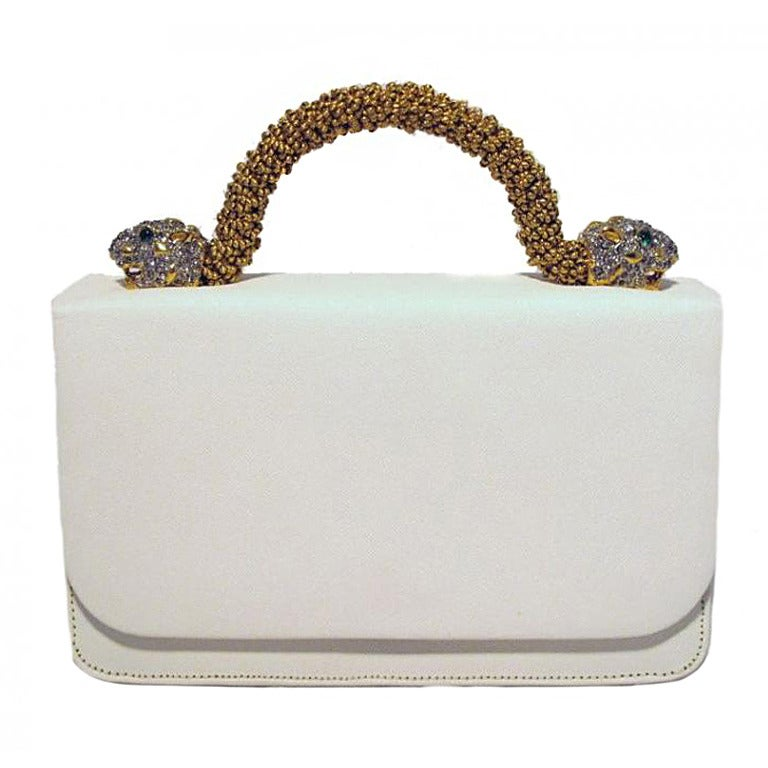 Kenneth Lane For Rosenfeld Vintage White Sharkskin Evening Bag 1