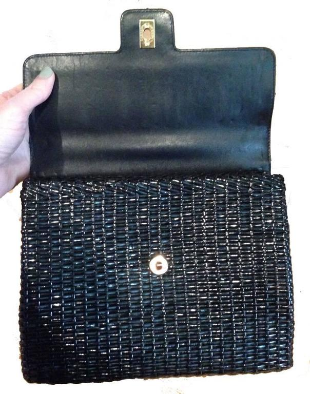 Chanel Black Wicker Rattan and Leather Shoulder Bag For Sale 2