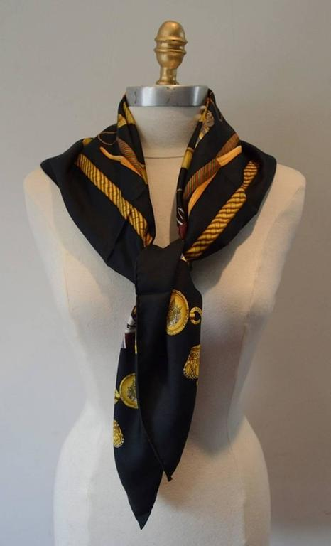Hermes Silk Les Tambours Scarf In Black At 1stdibs