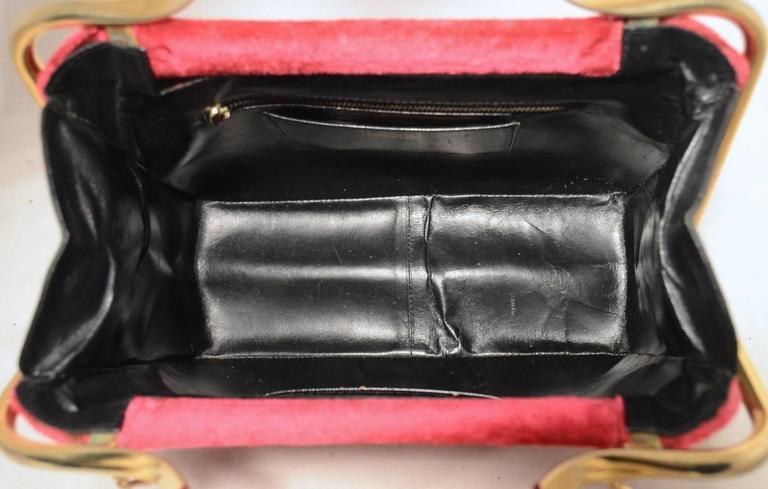 Roberta di Camerino 1960s Black Leather Red Velour Vintage Handbag In Excellent Condition In Philadelphia, PA