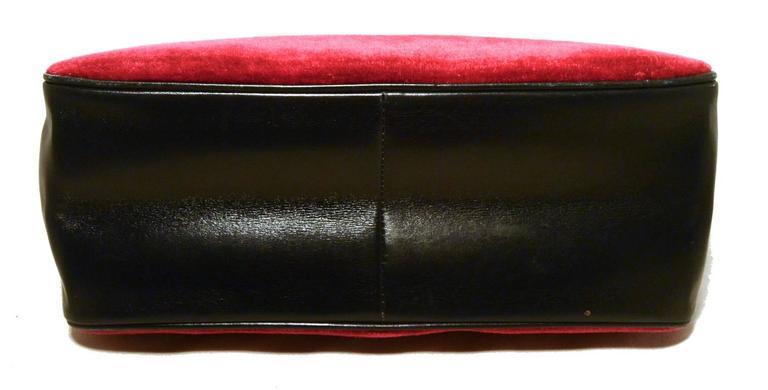 Roberta di Camerino 1960s Black Leather Red Velour Vintage Handbag 2