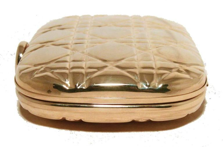 Chrisian Dior Gold Cannage Metal Clutch Evening Bag In Excellent Condition For Sale In Philadelphia, PA