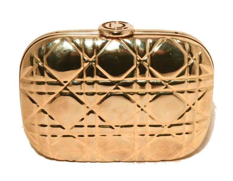 Women's Chrisian Dior Gold Cannage Metal Clutch Evening Bag For Sale