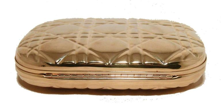 Chrisian Dior Gold Cannage Metal Clutch Evening Bag For Sale 1