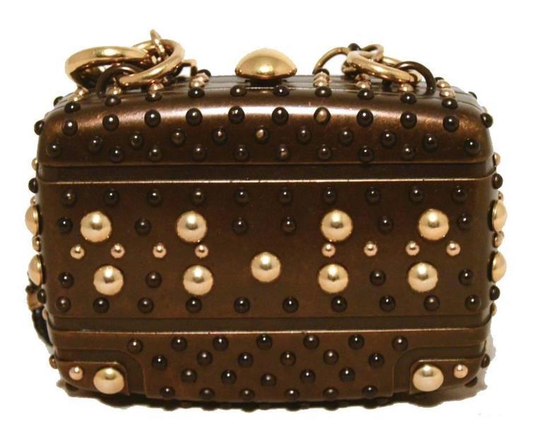 Gucci Studded Gunmetal Knights Armor Heart Box Handbag RUNWAY 2