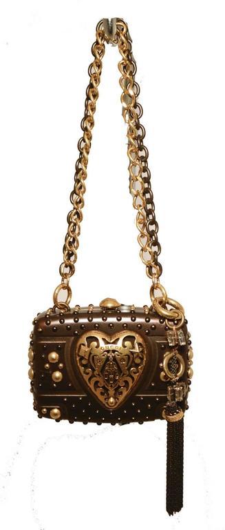 Gucci Studded Gunmetal Knights Armor Heart Box Handbag RUNWAY For Sale 1