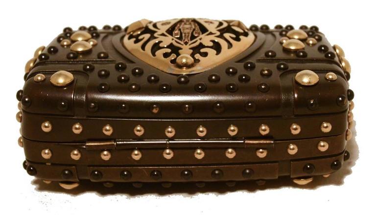 Women's Gucci Studded Gunmetal Knights Armor Heart Box Handbag RUNWAY For Sale