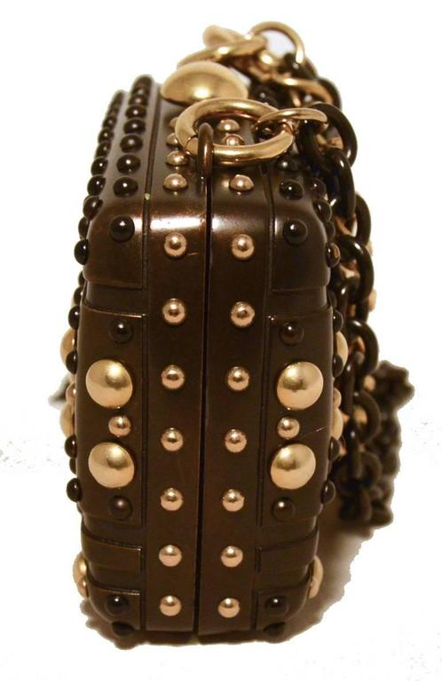 Gucci Studded Gunmetal Knights Armor Heart Box Handbag RUNWAY In Excellent Condition For Sale In Philadelphia, PA