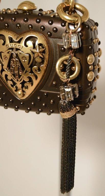 Gucci Studded Gunmetal Knights Armor Heart Box Handbag RUNWAY For Sale 2