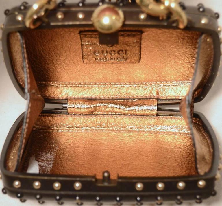 Gucci Studded Gunmetal Knights Armor Heart Box Handbag RUNWAY For Sale 3