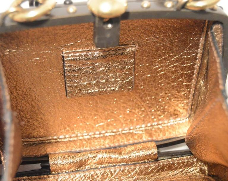 Gucci Studded Gunmetal Knights Armor Heart Box Handbag RUNWAY For Sale 5