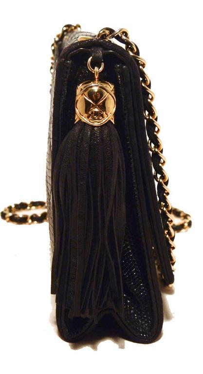 a044a862c659 Chanel Vintage Black Lizard Leather Side Tassel Shoulder Bag In Good  Condition For Sale In Philadelphia