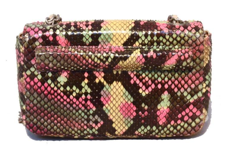 Chanel Multi Color Python Snakeskin Mini Classic Flap Shoulder Bag 2
