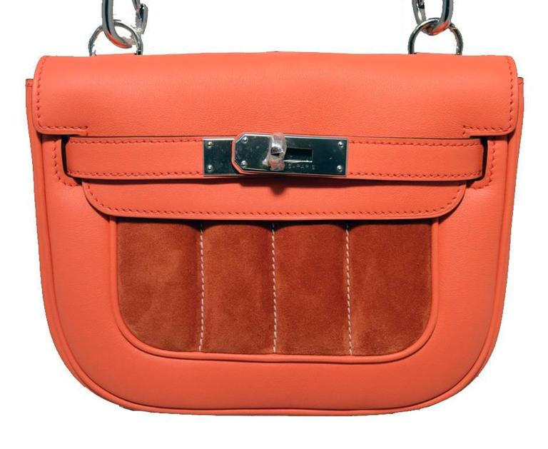 Hermes Orange Suede and Swift Leather Berline Bag-RARE 3