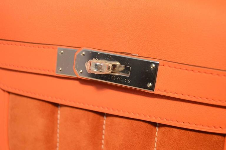 Hermes Orange Suede and Swift Leather Berline Bag-RARE 8