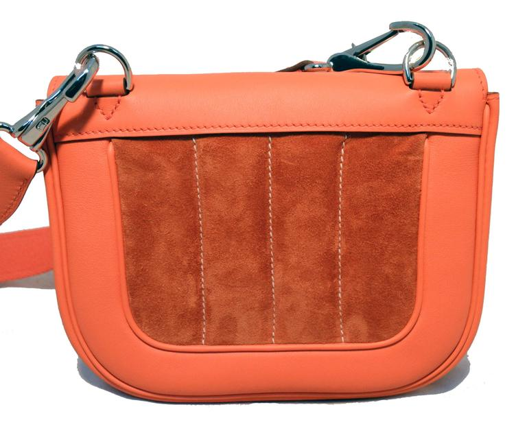 Hermes Orange Suede and Swift Leather Berline Bag-RARE 4
