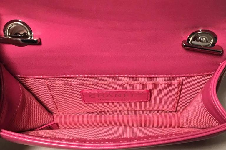 Chanel Pink Patent Leather Ombre Block Logo Mini Classic Flap Bag 5