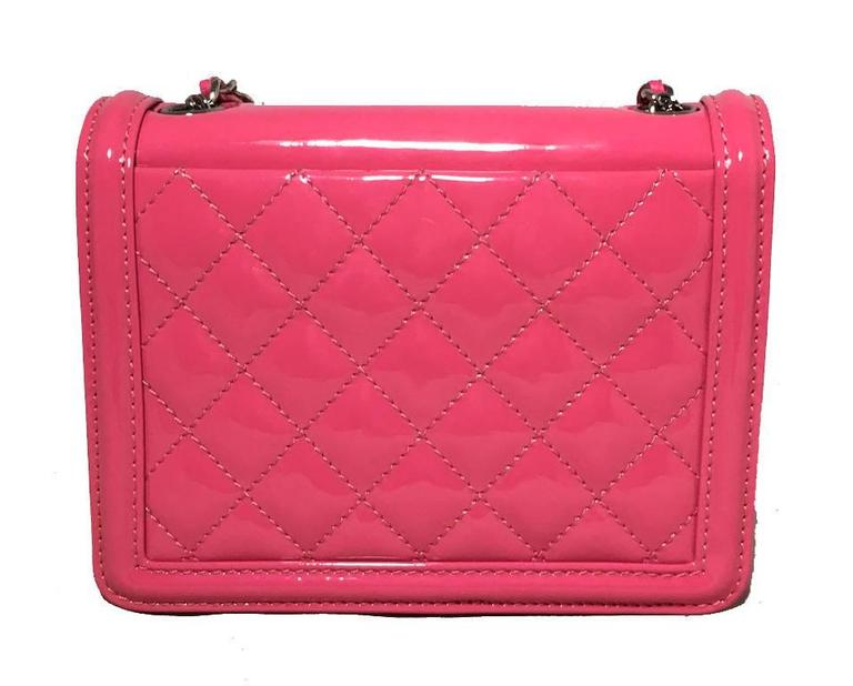 Chanel Pink Patent Leather Ombre Block Logo Mini Classic Flap Bag 2