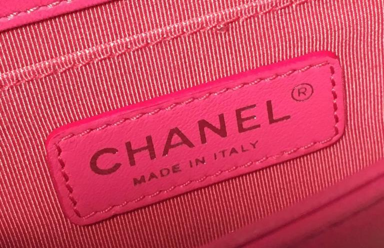 Chanel Pink Patent Leather Ombre Block Logo Mini Classic Flap Bag 7
