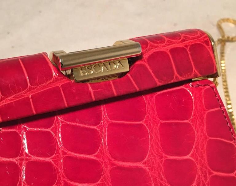 Escada Vintage Red Alligator Mini Evening Bag  8
