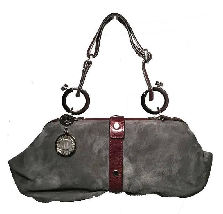 Lanvin Grey Suede Brown Leather Trim Handbag For Sale At