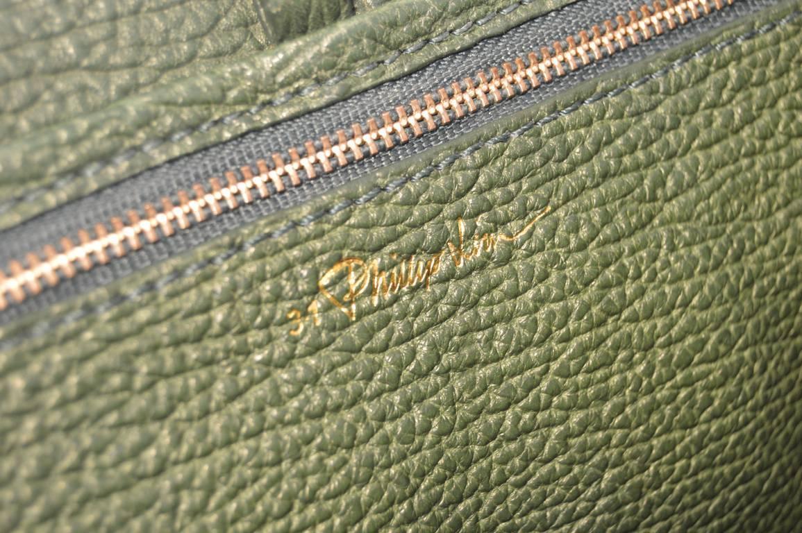 3 1 Phillip Lim Green Sharkskin Embossed Leather Pashli Satchel Bag For Sale At 1stdibs