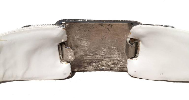 Judith Leiber Vintage White Leather Silver Rhinestone Buckle Belt 5