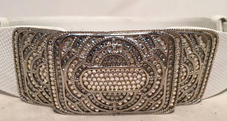 Judith Leiber Vintage White Leather Silver Rhinestone Buckle Belt 2
